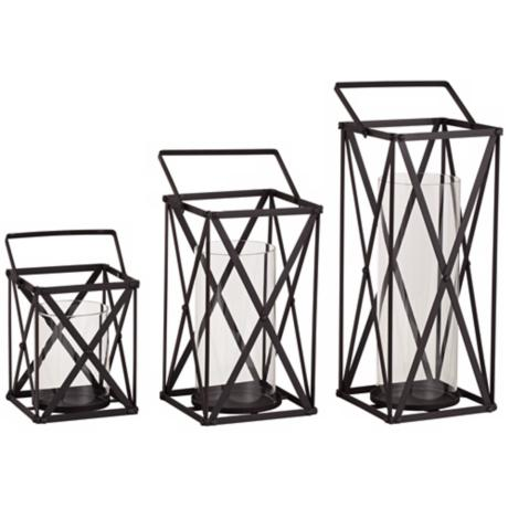 Set of 3 Lagoon Black Metal Lanterns