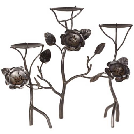 Santa Rosa 3-Tier Floral Metal Candle Holder