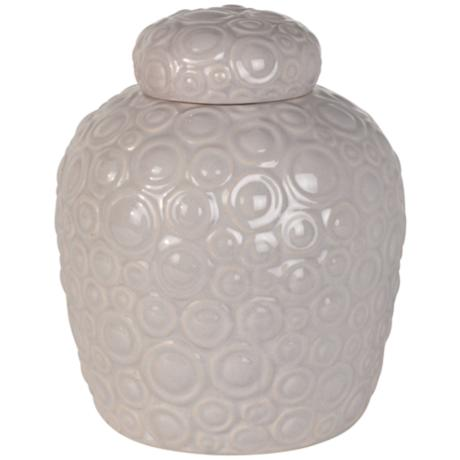 Luxe Textured Light Grey Ceramic Jar