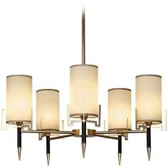 Robert Abbey Emile Brass and Chocolate Leather Chandelier
