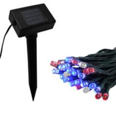 Solar 50 LED Red, White and Blue String Lights