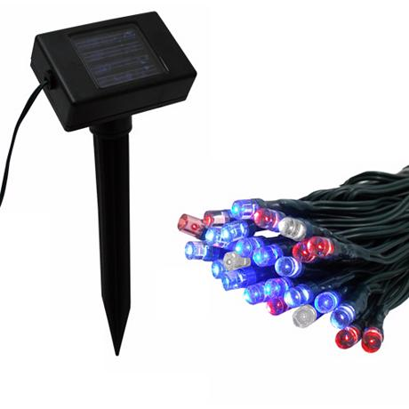 Solar Powered Led String Lights Red : Solar Powered 50 Red, White and Blue LED String Lights