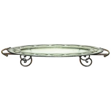 Scrolled Leg Metal and Glass Oval Display Tray