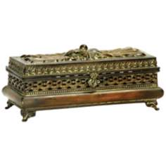 Distressed Gold Metal Pierced Glove Box