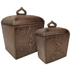 Set of 2 Antoine Brown Decorative Boxes