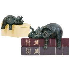 Set of Two Black Sprawling Elephants Shelf Decor
