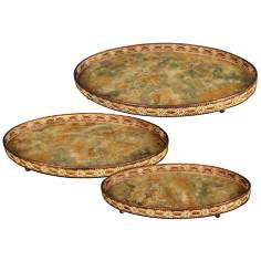 Set of 3 Appaloosa Metal and Glass Decorative Trays