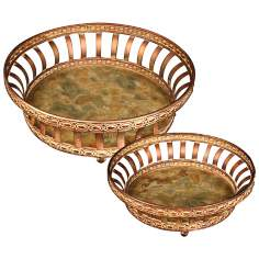 Set of 2 Appaloosa Metal and Glass Decorative Round Trays