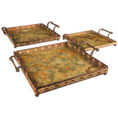 Set of 3 Square Metal and Glass Malta Trays with Handles