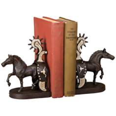 Cheyenne Cast Iron Horse and Spur Bookends