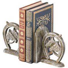 Amarillo Cast Iron White Horseshoe Bookends