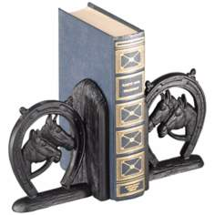 Amarillo Black Cast Iron Horseshoe Bookends