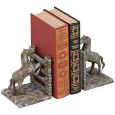 Laredo White Wash Cast Iron Horse Bookends