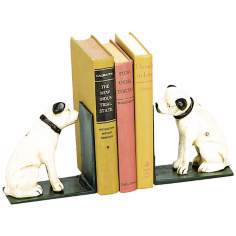Shropshire Set of 2 White Cast Iron Dog Bookends