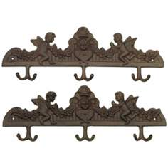 Set of 2 Rust Finish Cast Iron Angel Hooks