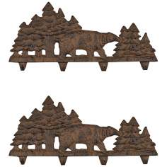 Kody Set of 2 Rust Finish Cast Iron Coat Rack