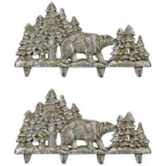 Cody Set of 2 White Wash Cast Iron Bear Coat Rack