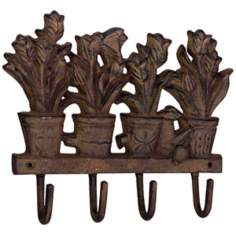 Jardin Rust Finish Cast Iron Tulip Wall Hook