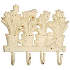 Jardin Antique White Cast Iron Tulip Wall Hook