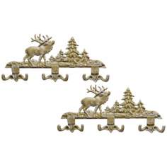 Algonquin Set of 2 White Wash Elk Wall Hooks