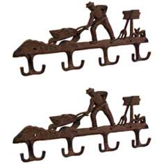 Americana Set of 2 Iron Rust Farmer Coat Hooks