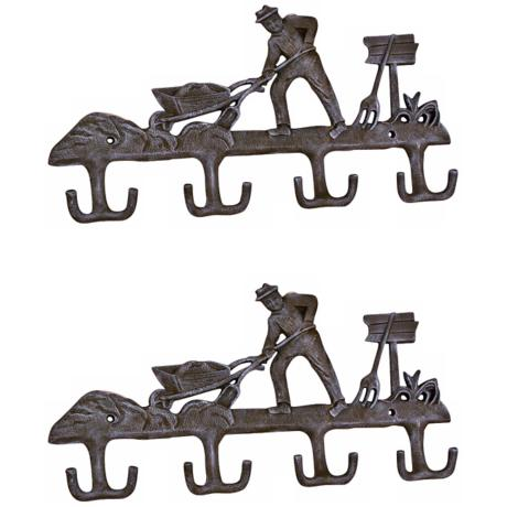 Americana Set of 2 Cast Iron Farmer Coat Hooks