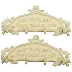 Set of 2 Antique White Hot Bath Wall Hooks