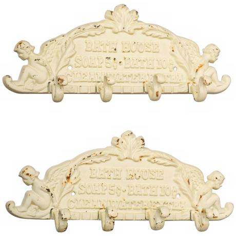 Set of 2 Antique White Bath House Wall Hooks