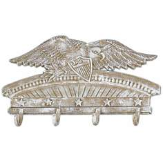Americana White Wash Cast Iron Eagle Coat Rack