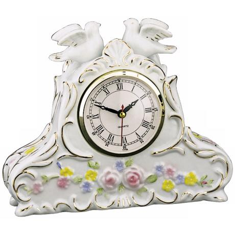 "Printemps Two Doves 8 1/2"" Wide Porcelain Clock"