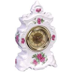 "Printemps 8 1/2"" High Porcelain Ladies Boudoir Clock"