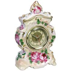 "Printemps Porcelain 5"" Wide Boudoir Clock"
