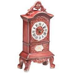 "Veronique 13 1/2"" High Rose Porcelain Clock"