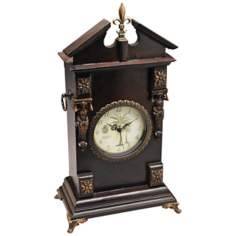 "Michel 20"" High Wood and Antique Metal Mantel Clock"