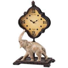 "Bengali 17"" High Rust and White Elephant Clock"