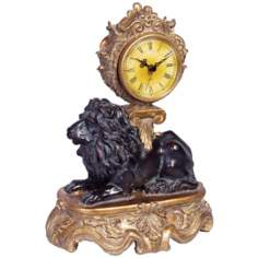 "Barzini 11 1/2"" High Lion Table Clock"