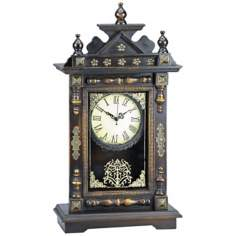 "Vincenzo 21"" High Wood and Antique Metal Desk Clock"