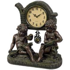 "Saturnalia Two Cherubs 16"" High Pendulum Clock"
