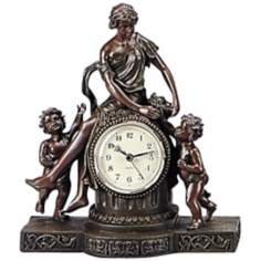 Saturnalia Woman and Two Cherubs Bronze Clock