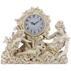 Maldini Woman and Cherub Antique Ivory Clock