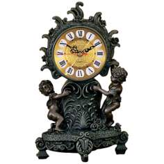 Athenium Two Small Boys Gold Dial Clock