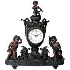 Vivienne Antique Bronze Urn and Cupids Mantel Clock