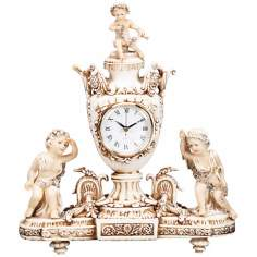 Vivienne Antique Ivory Cupids and Urn Mantel Clock
