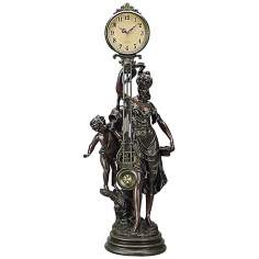 Gentile Lady and Cherub Bronze Pendulum Clock