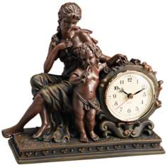 Saturnalia Woman and Cherub Bronze Mantel Clock