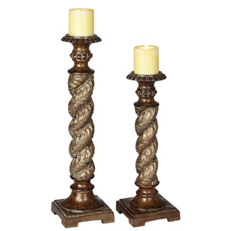 Set of 2 Spiral Pillar Candle Holders