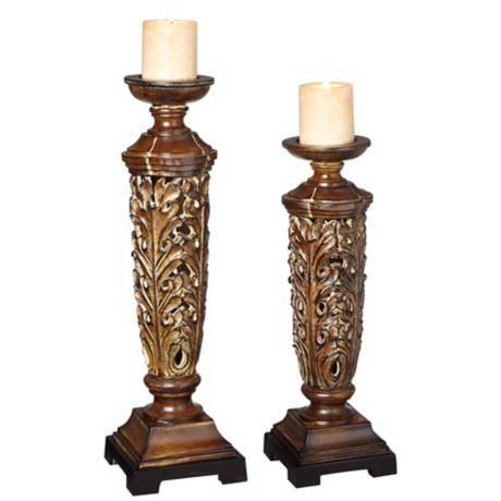 Set of 2 Wood Look Ornate Candle Holders