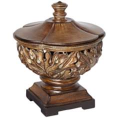 Wood Look Ornate Bowl with Lid