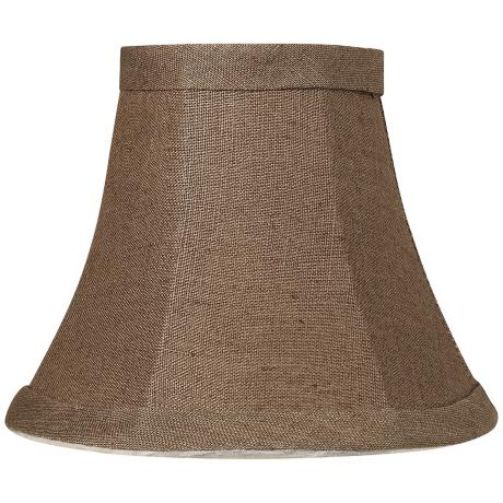 Brown Flax Linen Bell Shade 3x6x5 (Clip-On)