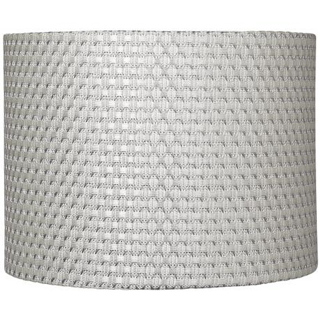 White and Silver Weave Drum Shade 11x11x8.5 (Spider)